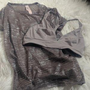 Victoria's Secret sheer mesh metallic shimmer top